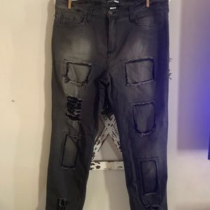 Fashion nova bnwot black patch work jeans size 15